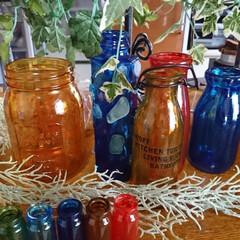 ターナー色彩 ガラスペイント 琥珀 40ML | ターナー(その他接着、補修材料)を使ったクチコミ「暑い暑いと言いながら💦💦 空き瓶リサイク…」(4枚目)