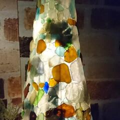 灯り/シーグラスアート/次のコンテストはコレだ!/ダイソー/雑貨/ハンドメイド/... シーグラスの自然な灯りに癒されます⤴️⤴️(3枚目)