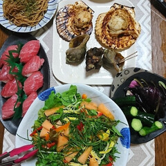 ビニールおつまみ/おうちごはん 今夜は週末集めた道産野菜や、北海道ホタテ…