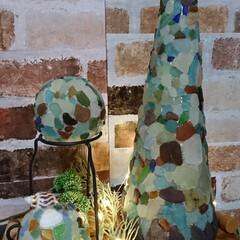 灯り/シーグラスアート/次のコンテストはコレだ!/ダイソー/雑貨/ハンドメイド/... シーグラスの自然な灯りに癒されます⤴️⤴️(4枚目)