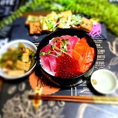 北海道/いくら/おうちごはん ご〜やん居酒屋🏮‼️ 今夜は海鮮丼✨