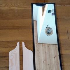 アンティーク調/カッティングボードDIY/猫さん大好き/お家時間/カフェ風インテリア/北海道/... 以前アップした、ダイソー長方形鏡300円…(8枚目)