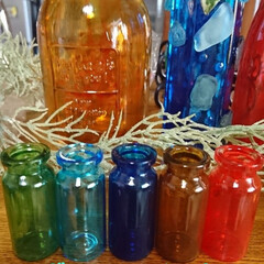 ターナー色彩 ガラスペイント 琥珀 40ML | ターナー(その他接着、補修材料)を使ったクチコミ「暑い暑いと言いながら💦💦 空き瓶リサイク…」