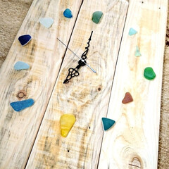 お家時間/木を大切に/時計DIY/シーグラス/ハンドメイド/手作り/... こちらは、以前廃材でDIYしました、時計…(5枚目)