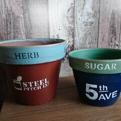 リサイクル/素焼き鉢リメイク/100均/簡単/おしゃれ 素焼き鉢リメイク🖌️ 5号、6号鉢‼️ …(2枚目)