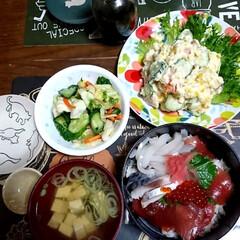 北海道/海鮮丼/おうちごはん 今日はDIY忙しく、以外と手のかからない…