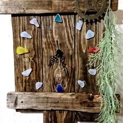 お家時間/木を大切に/時計DIY/シーグラス/ハンドメイド/手作り/... こちらは、以前廃材でDIYしました、時計…
