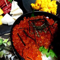 晩ごはん/北海道/いくら丼/我が家のテーブル 今年‼️初、いくらの醤油漬け⤴️⤴️⤴️…(2枚目)
