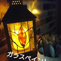 ターナー色彩 ガラスペイント 40ml 翡翠 GP040007(ペンキ、塗料)を使ったクチコミ「秋の夜長‼️ ほんわかランタン💡できまし…」