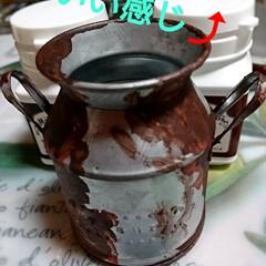 ターナー色彩 ミルクペイント ラストメディウム レッドブラウン/ダークブラウン 各100mL 2種類 錆 さび 古びたアンティーク ジャンク 水性塗料 DIY | ターナー(ペンキ、塗料)を使ったクチコミ「先ほどのペイメントして見たよ‼️ ざらざ…」