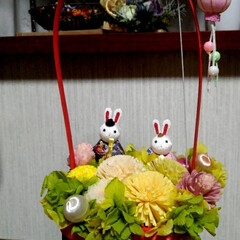 ひな祭り 昨年作った ひな祭りのプリザブドフラワー…(2枚目)