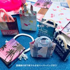 ハンドメイド/キャンドゥ/折り紙/夏模様/ペーパーバッグ キャンドゥで見つけた夏っぽい模様の折り紙…