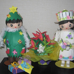 クリスマス/クリスマスツリー/クリスマスケーキ/ペーパークラフト 子供たちをモデルにクリスマスツリーとケー…