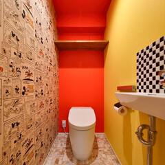 トイレ/カラー/アクセントカラー/レッド/イエロー/壁紙