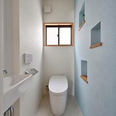 トイレ/ニッチ/アクセントカラー/ライトブルー/リノベーション/清潔感