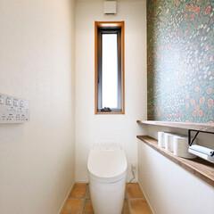 トイレ/壁紙/アクセントクロス/アクセントウォール/棚/フロアタイル/...