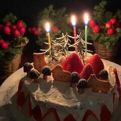 レトログラス/春巻き/夕飯/おうちごはん/晩御飯/クリスマスケーキ 2020.12.27 日曜日 今日の晩御…(3枚目)