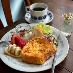 フレンチトースト/カフェごはん/ワンプレートごはん/朝ごパン/朝ごはん/おうちごはん/... 2020.4.27 月曜日 今日の朝ごパ…