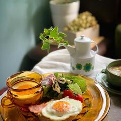 レトロ雑貨/ビンテージ食器/低糖質ダイエット/ゆるゆる低糖質制限/朝ごはん/朝ごパン/... 2020.9.30 水曜日 今日の朝ご…