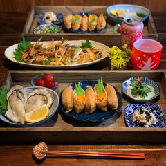いなり寿司/室津の牡蠣/牡蠣/夕飯/おうちごはん/晩御飯/... 2020.3.27 金曜日 今日の晩御飯…