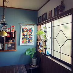 昭和レトロ/昭和/窓DIY/レトロな窓枠/ブルーグレーの壁/レトロインテリア/... 前々からやりたかった レトロな窓枠  前…