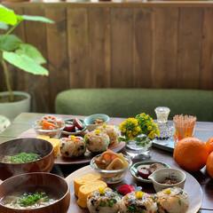 菜の花レシピ/ワンプレートごはん/おにぎり/おうちごはん/おうちカフェごはん/朝ごはん 2021.3.10 水曜日 今日の朝ご…(2枚目)