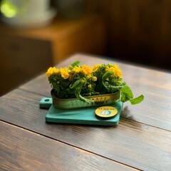 花のある暮らし/レトロインテリア/菜の花/雑貨/住まい/暮らし 先日お料理に使った菜の花。  蕾が付いて…