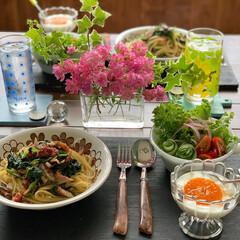 花のある暮らし/ミニバラ/パスタ/家庭料理/お昼ごはん/LIMIAごはんクラブ/...  2020.5.22 金曜日 今日のお昼…