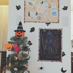 ハロウィンツリー/ダイソー 娘がハロウィンの楽しい絵を描きました(o…
