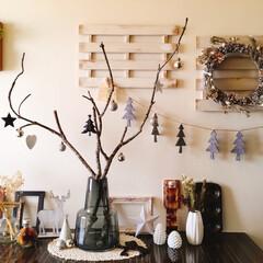 クリスマス/枝ツリー/ドライフラワー/100均/手作りリース 今年のクリスマスは、ドライ素材で作ったリ…