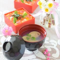 ピンク/pink/ひな祭り/はまぐりの潮汁/はまぐり/桃の花/... 主人の胃の調子が悪かった時に出したミニミ…