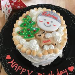 クリスマス/クリスマスケーキ/誕生日ケーキ/サンタクロース/クリスマスツリー/トナカイ/... 誕生日とクリスマスが一緒のパパのケーキで…