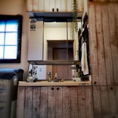 トゥルーベリー/カインズホーム/アンティーク/カフェ風/男前/洗面所/... 男前意識な洗面所😎フフ ベニア板を板壁風…