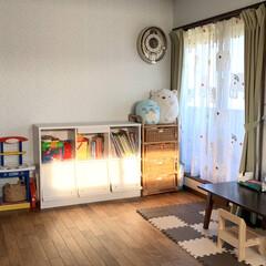 100均/ニトリ/ぬいぐるみ収納/ぬいぐるみ/子供部屋/寝室/... 子ども部屋のぬいぐるみたち。 誕生日に買…(2枚目)