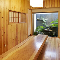 curtain/knotted wood/lantern/plants/sauna/グリーン/...