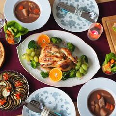 誕生日/おうちごはん/ローストチキン/ビーフシチュー/記念日/テーブルコーディネート/... 夫の誕生日に作ったディナーです♪ ★前菜…