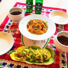 ドイツ/料理/夜ごはん/アンナのキッチン/わたしのごはん ドイツで作る夜ごはん♪ ★アサリとトマト…