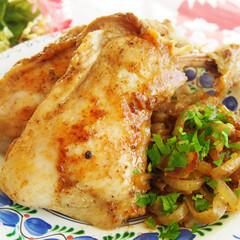 料理/夜ごはん/ドイツ/アンナのキッチン/わたしのごはん ドイツで作る夜ごはん♪ 骨付きの鶏もも肉…(1枚目)