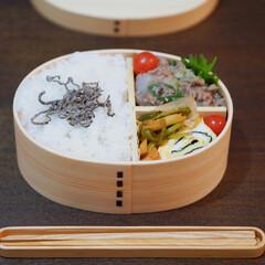 お弁当/曲げわっぱ/お弁当おかず/お弁当のおかず&便利グッズ 曲げわっぱのおべんとう。 ▶︎里芋のそぼ…