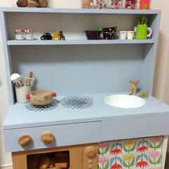 ままごとキッチン/DIY 娘が小さい時に 2段のカラーボックスを …