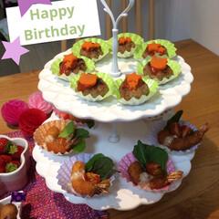 ケーキスタンド/バースディメニュー/フード/グルメ 娘のお誕生日のメニューです🎶 ケーキスタ…