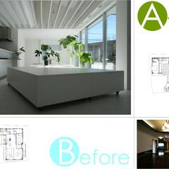ビフォアアフター/二世帯住宅/改装/改修/タイル 改装前改装後の写真です。