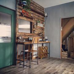 板壁DIY/床DIY/壁DIY/グレー/ブライワックス/引き戸DIY/... 一年前は全くのDIY初心者ながら、引っ越…
