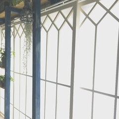 窓枠/DIY/窓枠風 賃貸のリビング、カーテンのかわりに窓枠を…(1枚目)