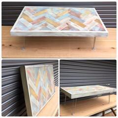 スクラップウッド/西海岸スタイル/ローテーブル/ヘリンボーン/インテリア/DIY/... お子様用のカラフルなローテーブルです^_^