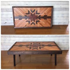 ヘリンボーン/テーブル/DIY/ハンドメイド/インテリア/ネイティヴ オーダー品のローテーブルです(^^)