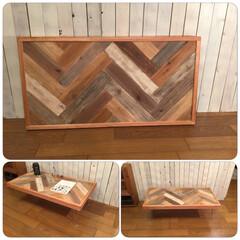 ローテーブル/折りたたみ/ヘリンボーン/スクラップウッド/アウトドアテーブル/西海岸スタイル/... ヘリンボーン柄の折りたたみ式のローテーブ…