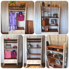 DIY/ハンガーラック/本棚/ブックシェルフ/マガジンラック/シャビー/... 高さ調整・取り外し出来る棚板が3枚 その…