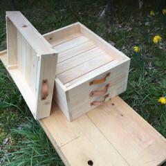 ヒノキ/木箱/ハンドメイド/スタッキング/DIY/革 ヒノキの木箱です。革の取手がポイントです。