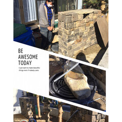 名古屋市中川区/庭/全国配送/庭石/水鉢/かざりの杜/... ふつーに石担いで、ふつーに石積んで、ふつ…